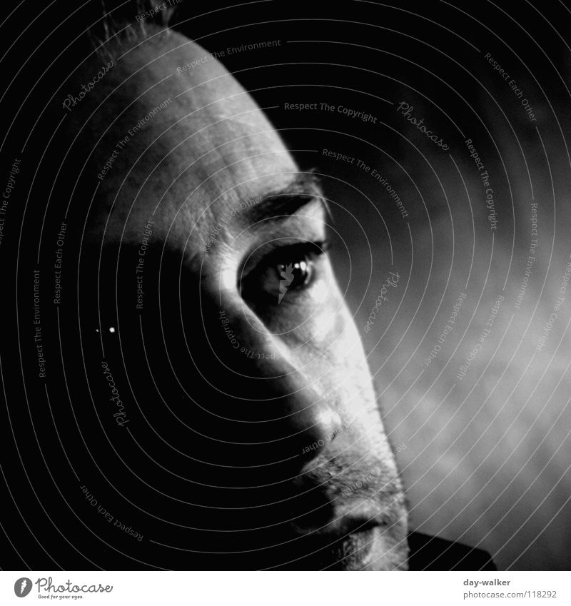 gloomy times Portrait photograph Dark Facial expression Man Emotions Black White Think Looking Dream Forehead Facial hair Face Eyes Shadow Contrast