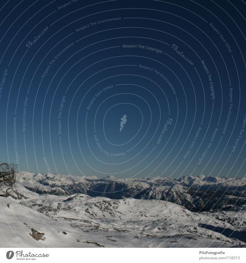 hairy affair Wind Blown away Glacier Light blue White Black Skis Traverse Dachstein mountains Beautiful Enchanting Deep snow Edge Mountain Winter Sky