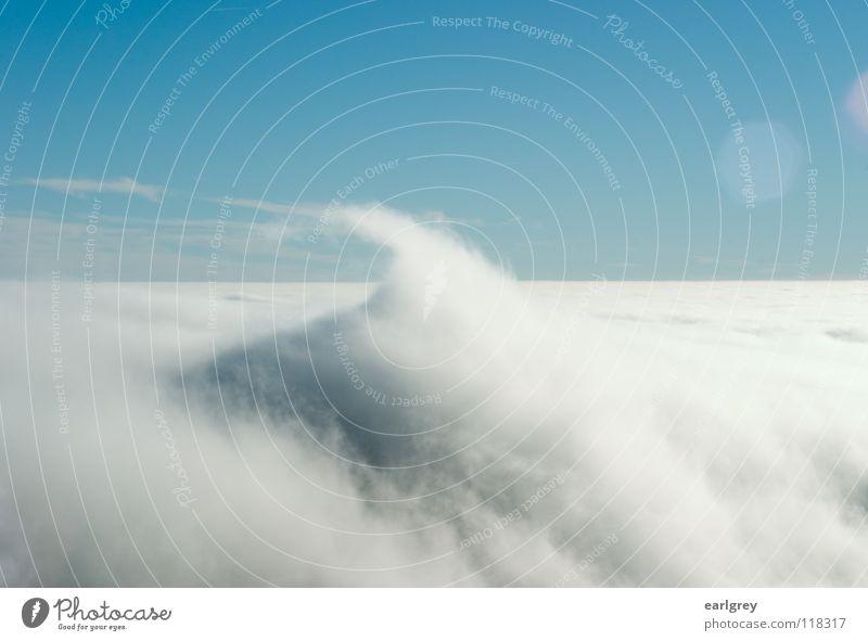 Cloud waves II Surf Waves Point Clouds Absorbent cotton Flow Enchanting Natural phenomenon Horizon Back-light Patch of light Exterior shot Azure blue Sky