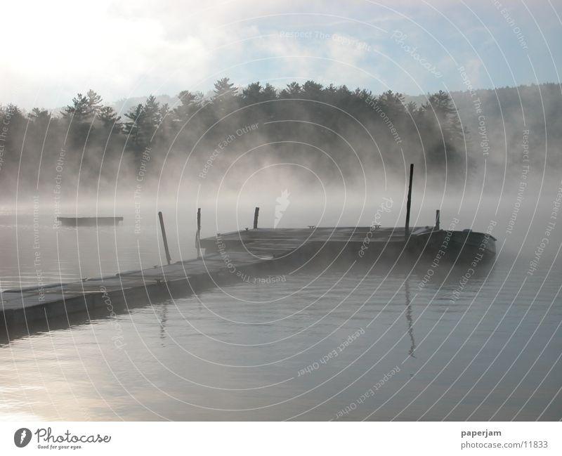 Lake Landscape Watercraft Fog USA Footbridge