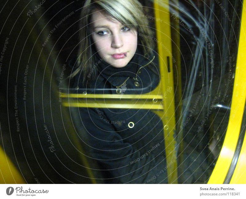 Woman Beautiful Black Loneliness Yellow Emotions Bright Wait Blonde Grief Broken Distress Window pane Pallid Slice Piercing