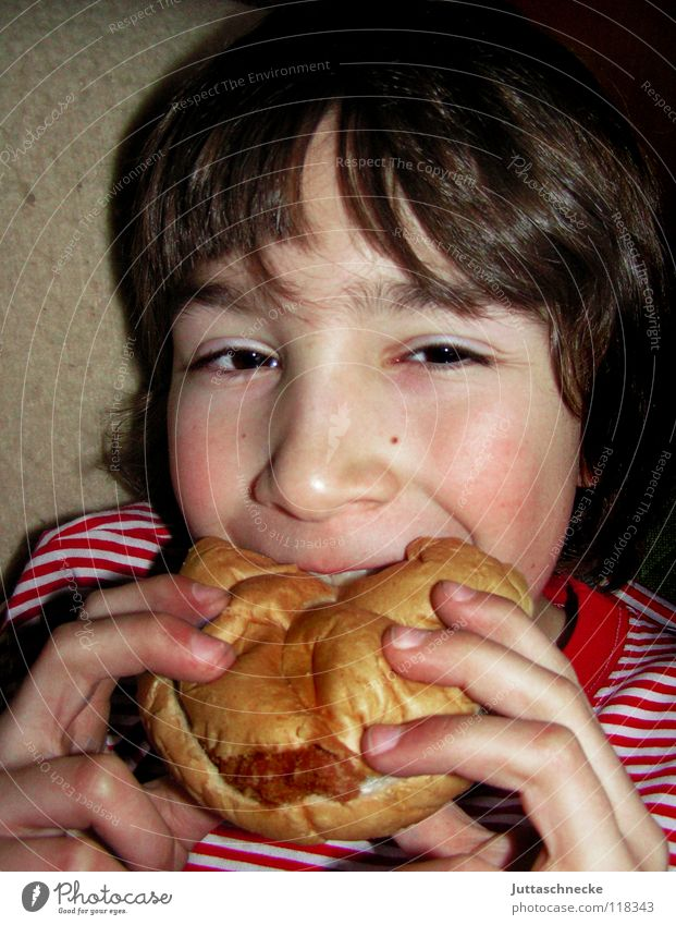 Child Nutrition Boy (child) Eating Break Dish Delicious Appetite Meat Dinner Meal Roll Bite Fast food Feed Brunch