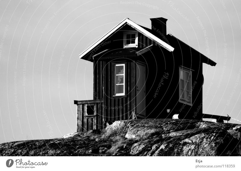 House or toilet? House (Residential Structure) Black White Beautiful Dark Cold Gray Derelict Black & white photo Beach Coast Sweden Bright Evening Toilet Sky