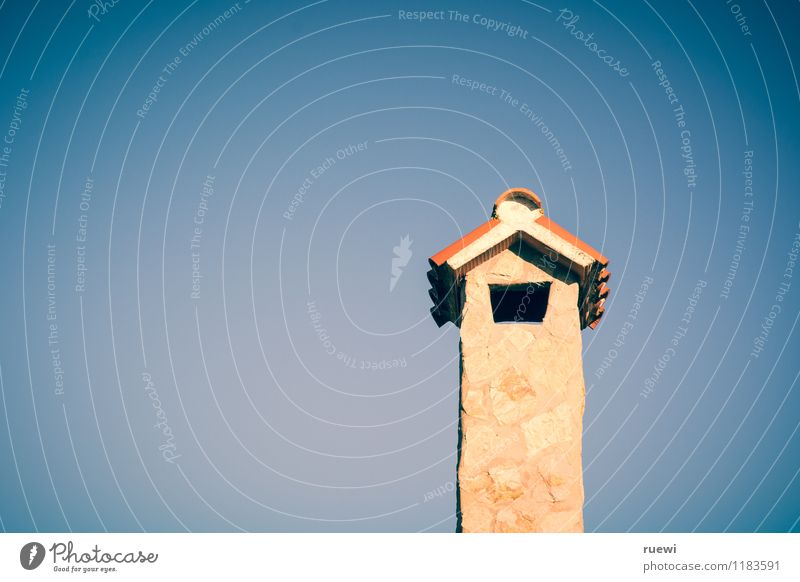 chimney Vacation & Travel Summer Construction site Energy industry Cloudless sky Beautiful weather Architecture Wall (barrier) Wall (building) Chimney Stone