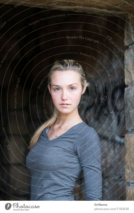 Human being Child Youth (Young adults) Beautiful Young woman Face Wall (building) Natural Feminine Wall (barrier) Moody Lifestyle 13 - 18 years Blonde Fitness