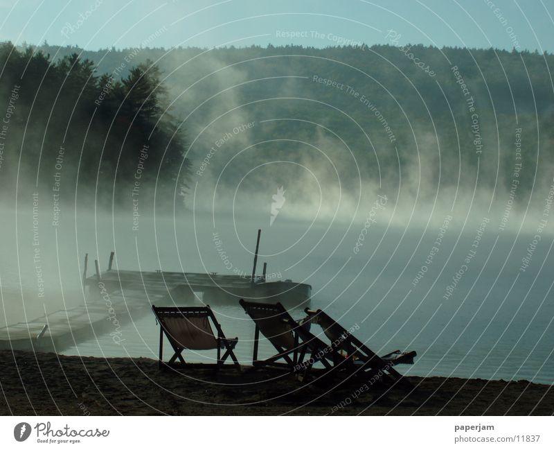 Squam Lake II Fog Footbridge Watercraft Sunrise Landscape USA