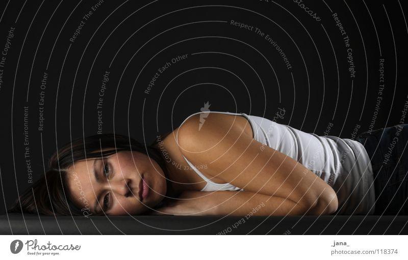 nora Woman Lie Frontal Asians Side Upper body Portrait photograph Feminine Dark background Black & white photo