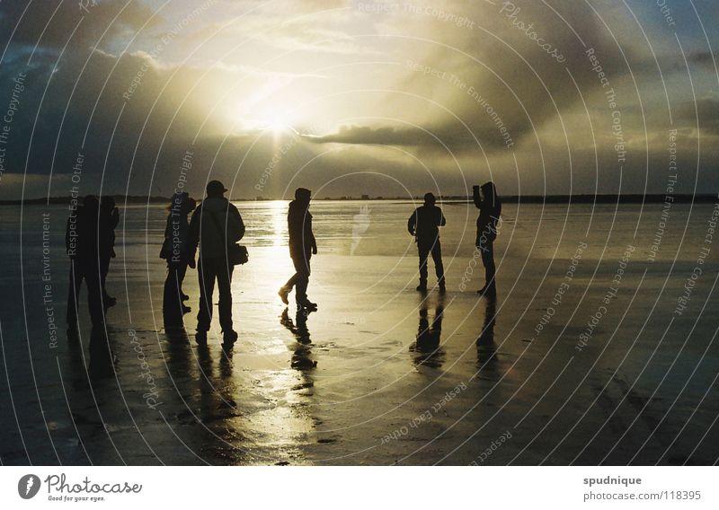 Sun Ocean Beach Freedom Group Coast Mirror Surface Mud flats