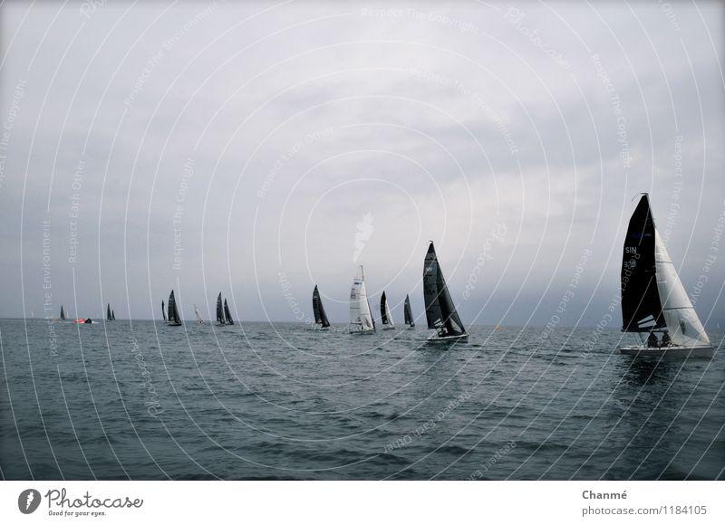 Ahead of the crowd Sailing Ocean Hyères Cote d'Azur Sailboat Speed Sports Regatta Colour photo Exterior shot