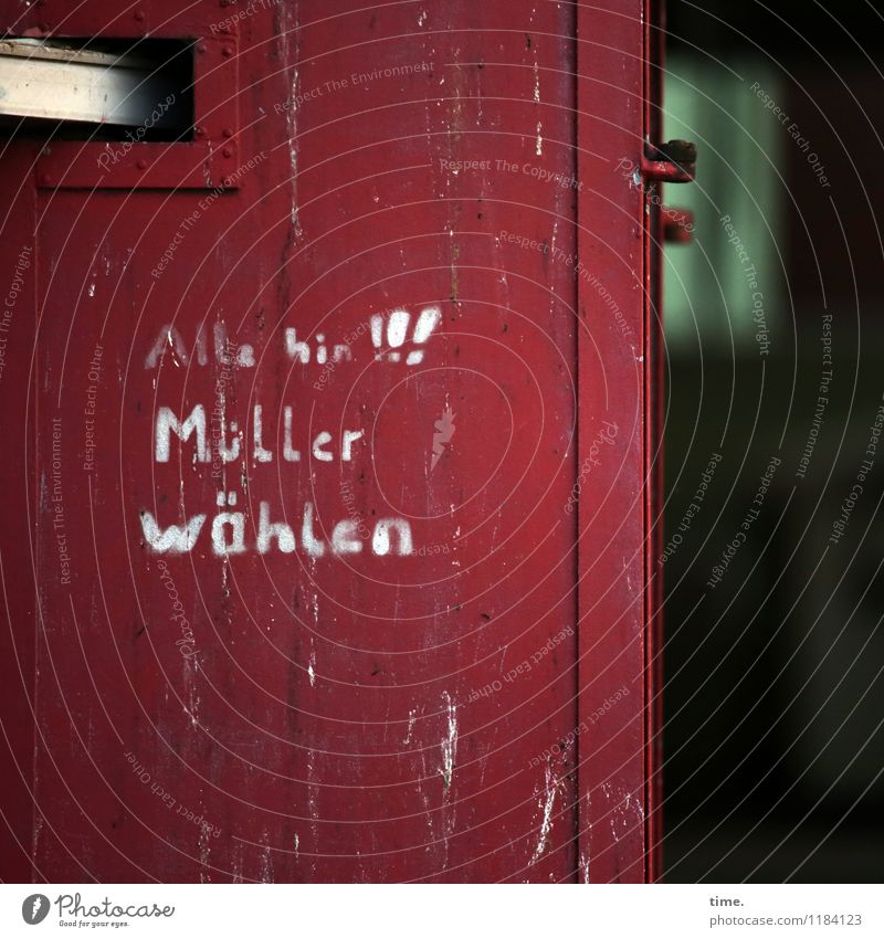 drawn & painted   recommended choice door imperative Miller election recommendation Exclamation mark Letters (alphabet) hand-painted authored writing Text Red