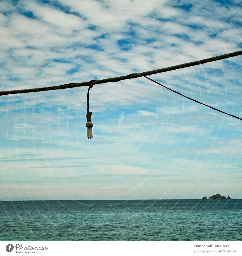 energy-saving lamp Cable Energy industry Energy crisis Nature Sky Clouds Climate change Beautiful weather Ocean Save Responsibility Problem solving Perspective