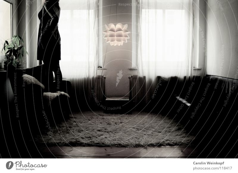 Woman Plant Loneliness Lamp Life Wall (building) Wood Sadness Wait Grief Dress Sofa Longing Pelt Wrinkles Distress
