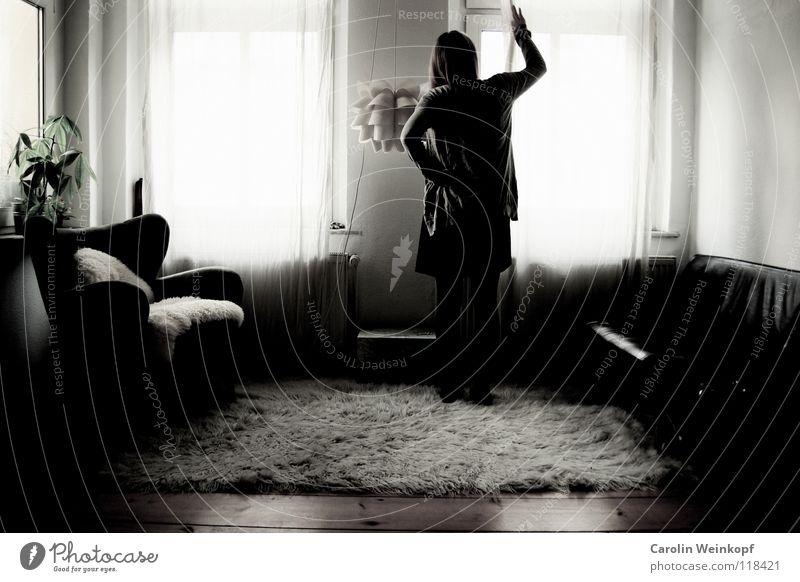 Woman Plant Loneliness Lamp Life Wall (building) Wood Sadness Wait Grief Dress Sofa Longing Pelt Wrinkles Distress