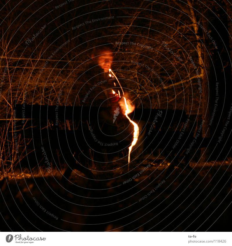 Man Lamp Dark Garden Park Blaze Bench Lightning Appearance Disaster