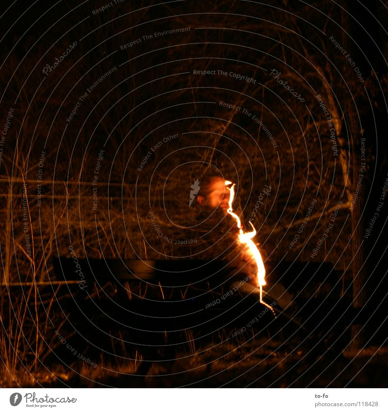 Man Lamp Dark Blaze Bench Transience Lightning Ghosts & Spectres  Appearance