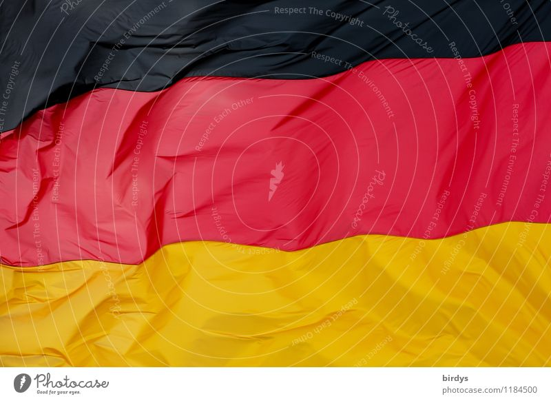 Hambach Festival 1832 German Flag Sign Esthetic Authentic Elegant Large Gold Red Black Agreed Colour Identity Politics and state Ensign full-frame image Blow