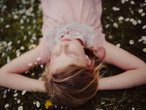 Human being Child Nature Green Summer Relaxation Flower Calm Girl Meadow Grass Feminine Happy Pink Dream Contentment
