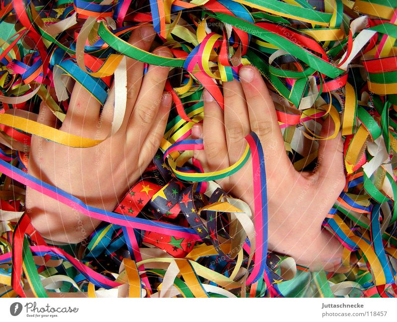 happy hands Hand Party Paper chain Multicoloured Red Green Yellow Fingers Thumb Forefinger Middle finger Ring finger Chaos Muddled Carnival Club Joy