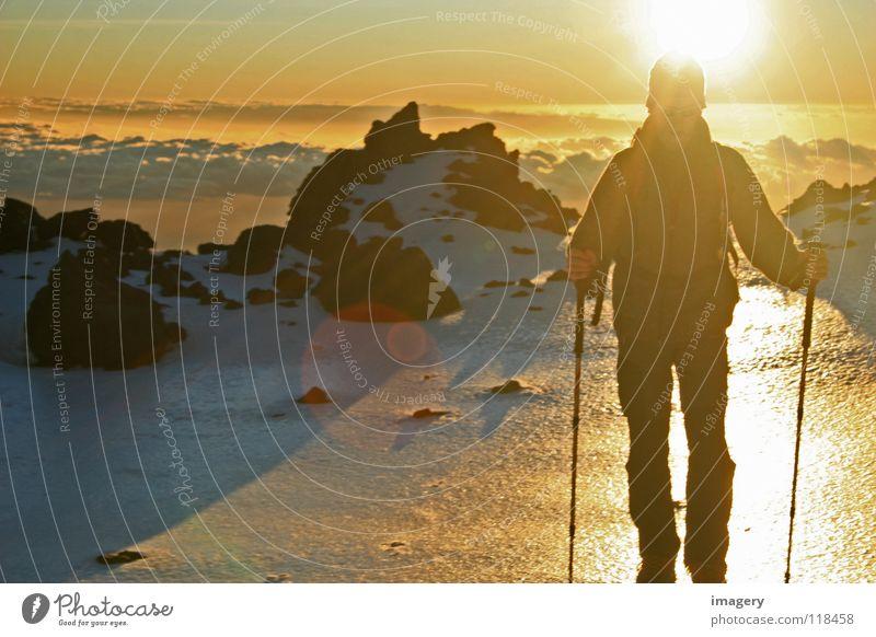 Sky Sun Clouds Snow Mountain Success Effort Mountaineering Winter sports Tenerife Teide