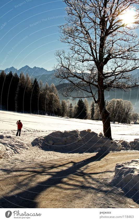 winter walk Winter Man Small Mountain kalr Alps Sky Clarity exterior landscape photograph