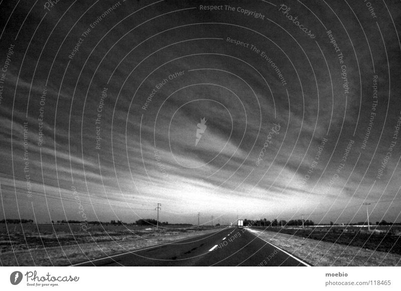 Llanura Truck Countries Black & white photo Desert Direction coulds lorry car Americas country countryside