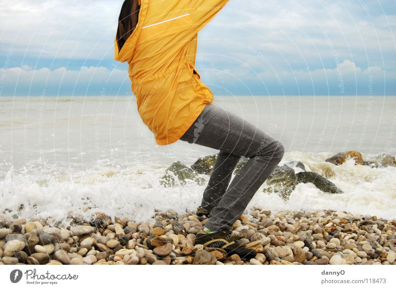 Water Ocean Blue Joy Beach Clouds Yellow Colour Stone Footwear Waves Coast Wet Jeans Pants Jacket