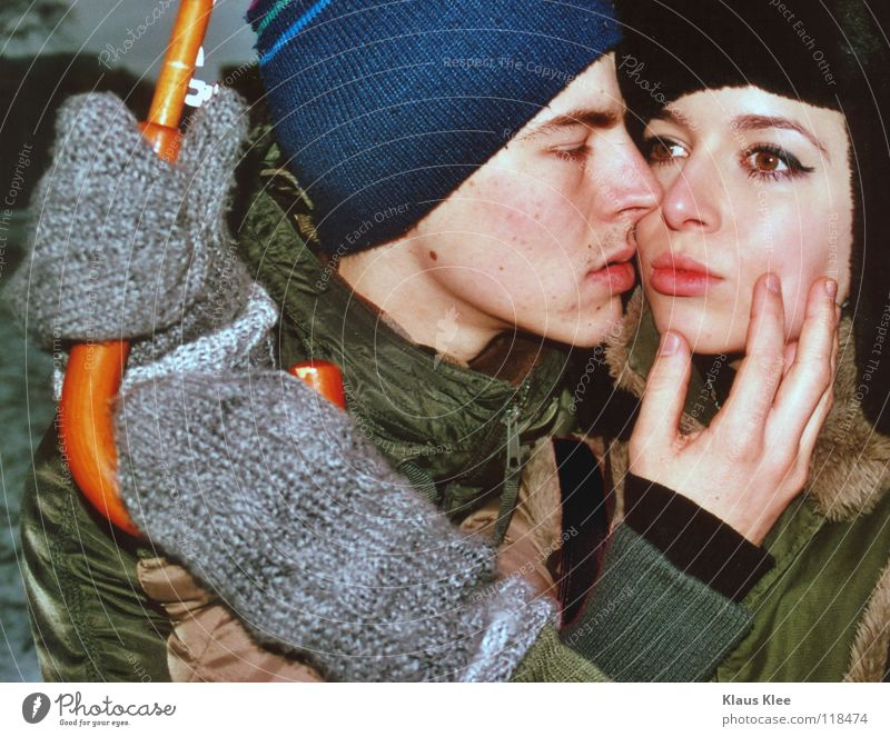 Winter Love Far-off places Park Grief Communicate Kissing Umbrella Dresden Touch Cap Distress Hatred Intimacy Caresses