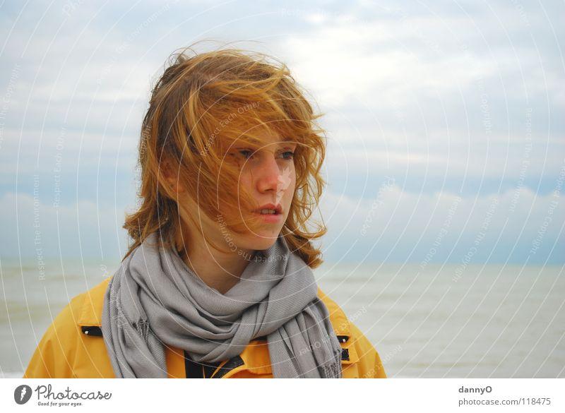 windy... Clouds Gale Ocean Yellow Jacket Autumn Joy Wind Head Blue Contrast bleak Rain Hair and hairstyles