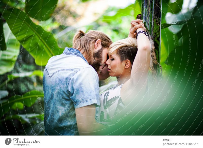 green Masculine Feminine Young woman Youth (Young adults) Young man Couple 2 Human being 18 - 30 years Adults Together Beautiful Natural Green Intimacy Kissing