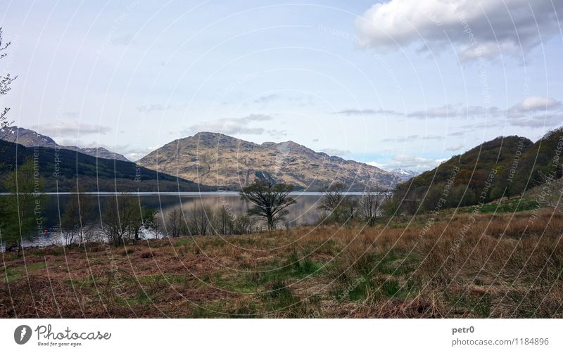 Loch Lomond Landscape Water Sky Clouds Spring Hill Mountain Highlands Peak Lakeside Heathland Ardleish Scotland Europe Deserted Serene Calm Adventure