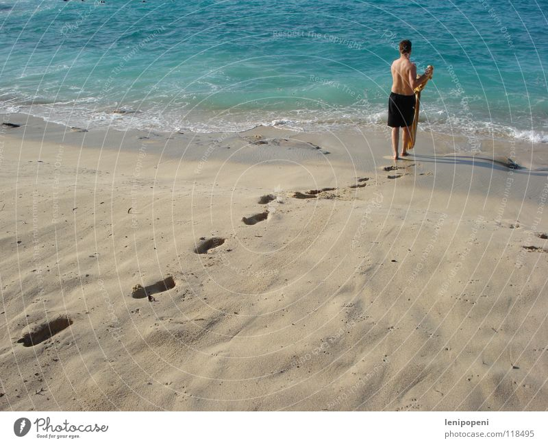 Man Water Beach Vacation & Travel Ocean Movement Sand Adults Waves Wet Going Tourism Swimming & Bathing Tracks Footprint Towel