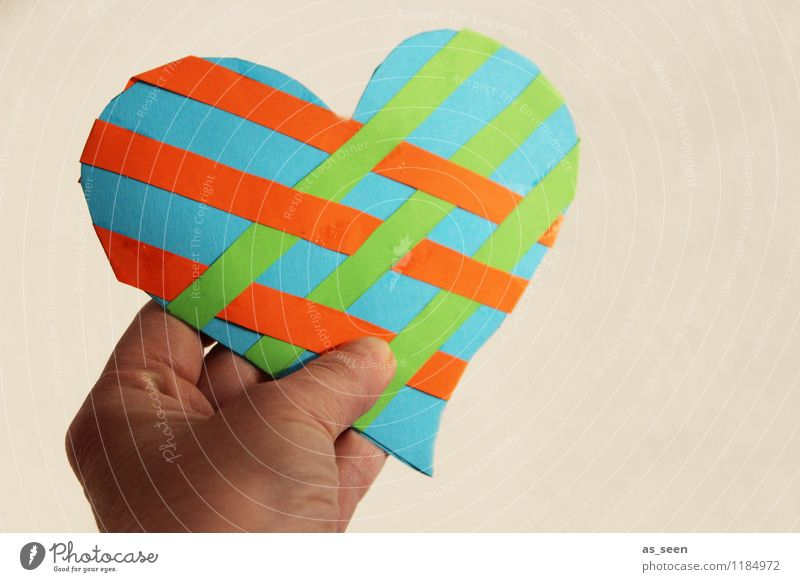 Green Colour Hand Life Love Happy Together Friendship Orange Decoration Authentic Esthetic Heart Fingers Warm-heartedness Paper