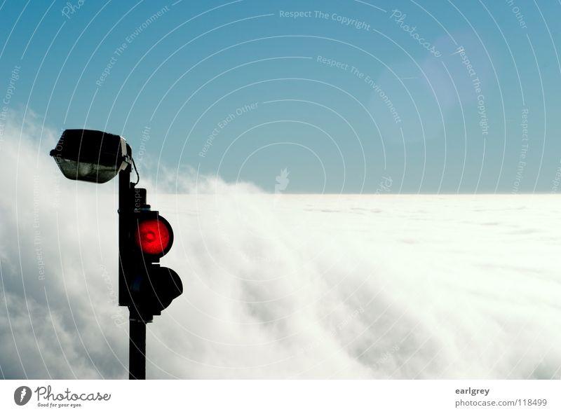 Sky Red Clouds Far-off places Snow Landscape Wait Airplane Horizon Transport Aviation Technology Stop Traffic light Mixture Flow