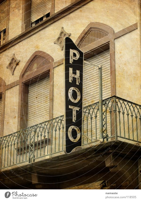 French Photography France Vosges Mountains Neon sign Brown Balcony Photo shop Detail Old Sepia Architecture