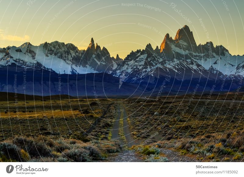 on the way to Fitz Roy Vacation & Travel Tourism Trip Adventure Far-off places Freedom Camping Winter Mountain Hiking Landscape Cloudless sky Sunrise Sunset