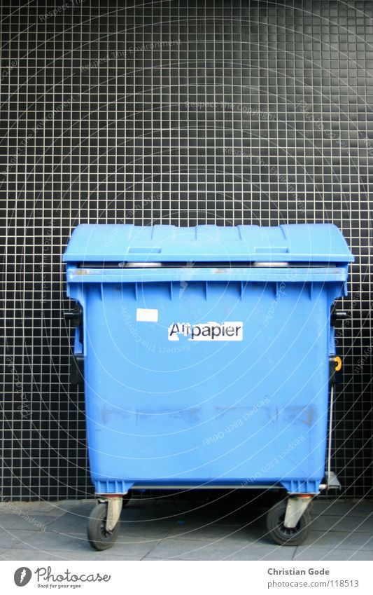 Blue Black Street Paper Trash Things Tile Sidewalk Traffic infrastructure Collection Cardboard Coil Backyard Recycling Trash container Keg