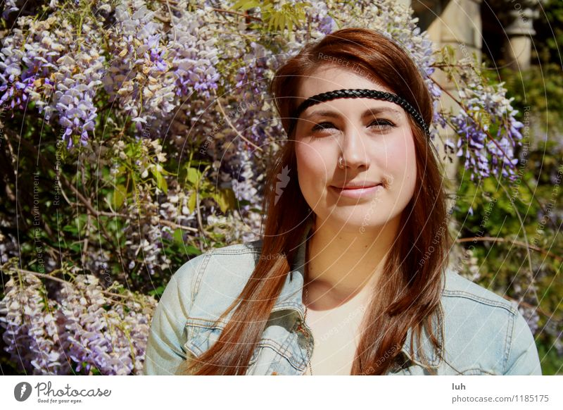 Human being Nature Youth (Young adults) Beautiful Young woman 18 - 30 years Adults Feminine Violet Hippie Lilac Hipster Hairband Nasal piercing