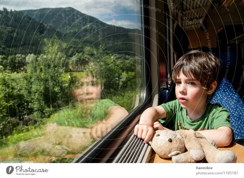 Human being Child Vacation & Travel Blue Green Summer Boy (child) Train window Family & Relations Infancy Railroad Toddler Passenger traffic In transit Brother