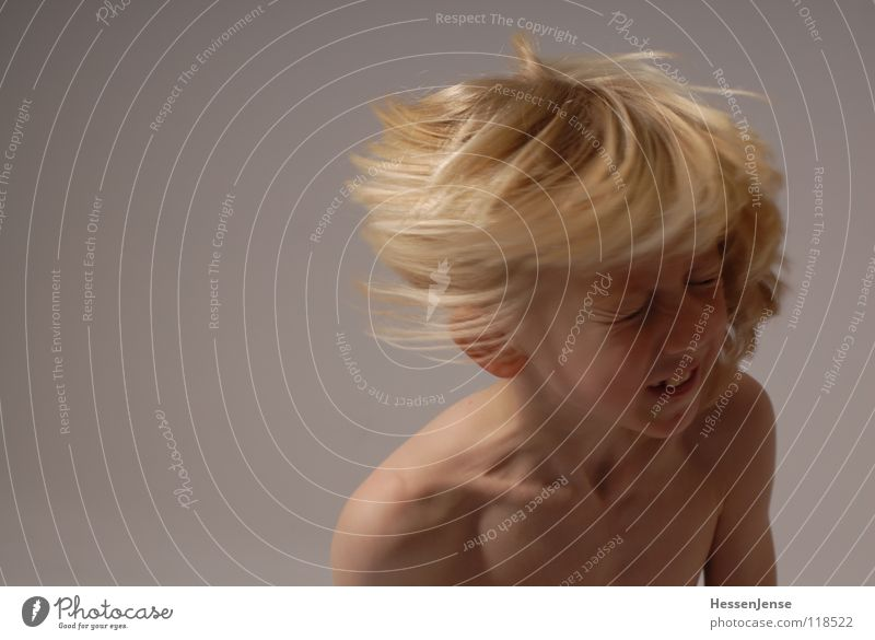 Child Joy Boy (child) Naked Emotions Movement Happy Hair and hairstyles Blonde Flying Speed Energy industry Strong Aggravation Hatred Haste