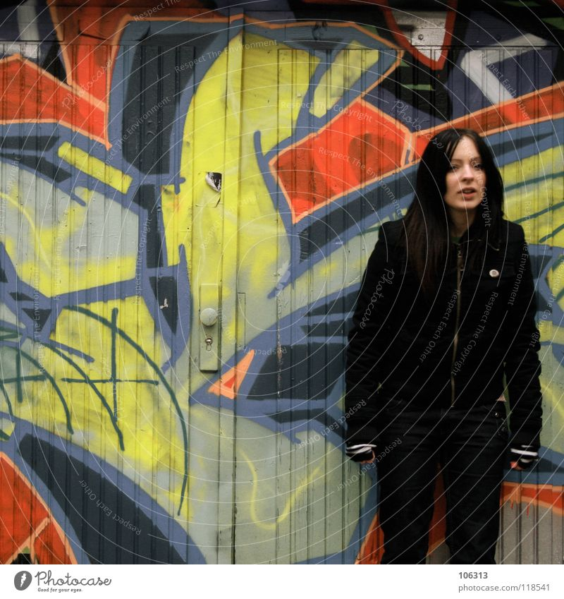 Human being Woman Man City Beautiful Colour Red Calm Black Cold Environment Wall (building) Graffiti Movement Feminine Together