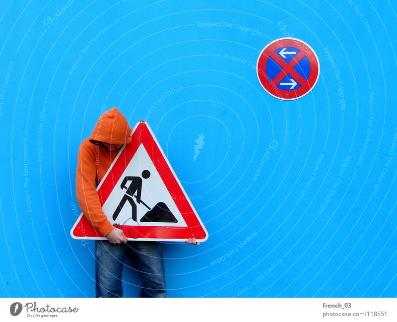 Human being Man Blue Hand White Beautiful Red Colour Wall (building) Wall (barrier) Orange Germany Work and employment Arm Signs and labeling Masculine