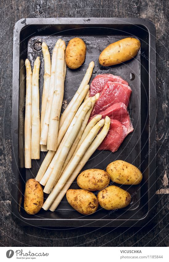 Asparagus, potato and meat for schnitzel Food Meat Vegetable Nutrition Lunch Dinner Organic produce Diet Bowl Style Design Healthy Eating Gourmet Escalope Top