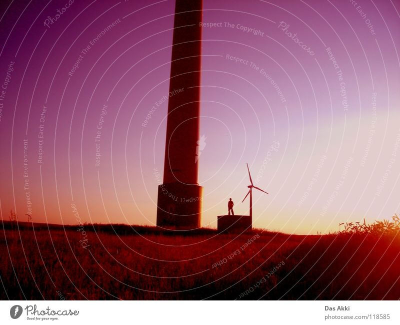 Generators View Sunrise Renewable energy Electricity Horizon Summer Physics Field Red White Small Trust Peace Wind energy plant Wing Energy industry Landscape