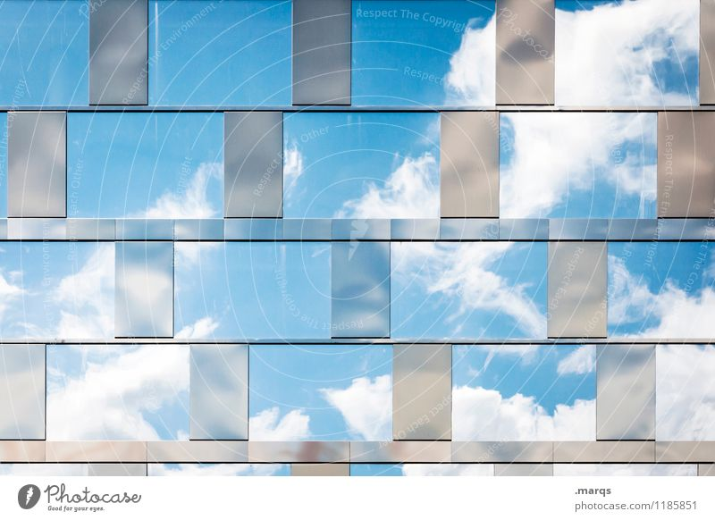 Beautiful weather Nature Sky only Clouds Summer Window Glas facade Glass Bright Modern Moody Success Perspective Air Longing Colour photo Exterior shot Pattern