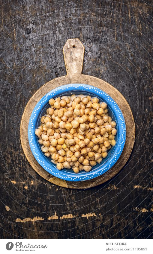 Chickpeas in blue bowl with water Food Vegetable Grain Nutrition Lunch Dinner Organic produce Vegetarian diet Diet Asian Food Bowl Style Design Healthy Eating