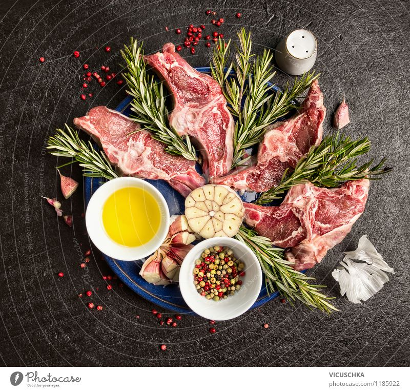 Fresh lamb double chops Food Meat Herbs and spices Cooking oil Nutrition Lunch Dinner Banquet Organic produce Crockery Plate Bowl Style Design Healthy Eating