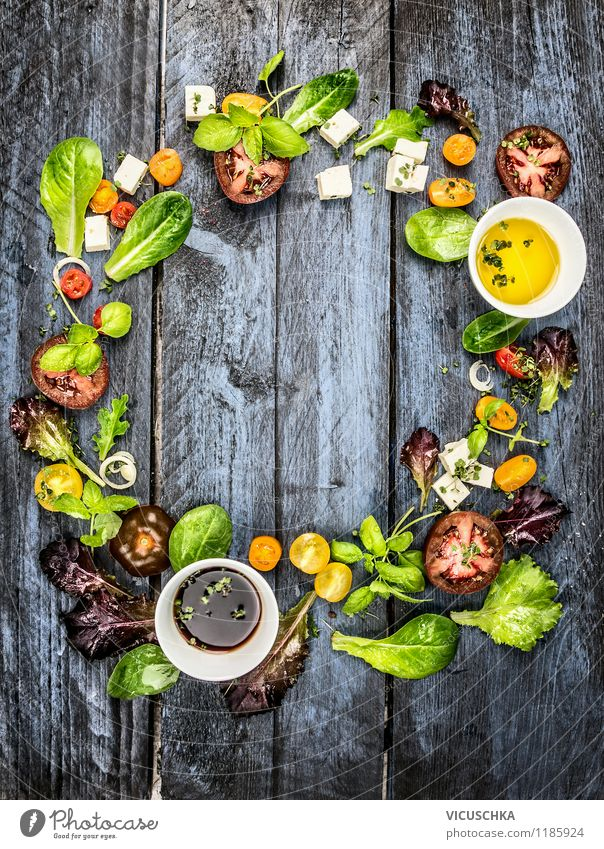 Make a colourful salad Food Dairy Products Vegetable Lettuce Salad Herbs and spices Cooking oil Nutrition Lunch Organic produce Vegetarian diet Diet