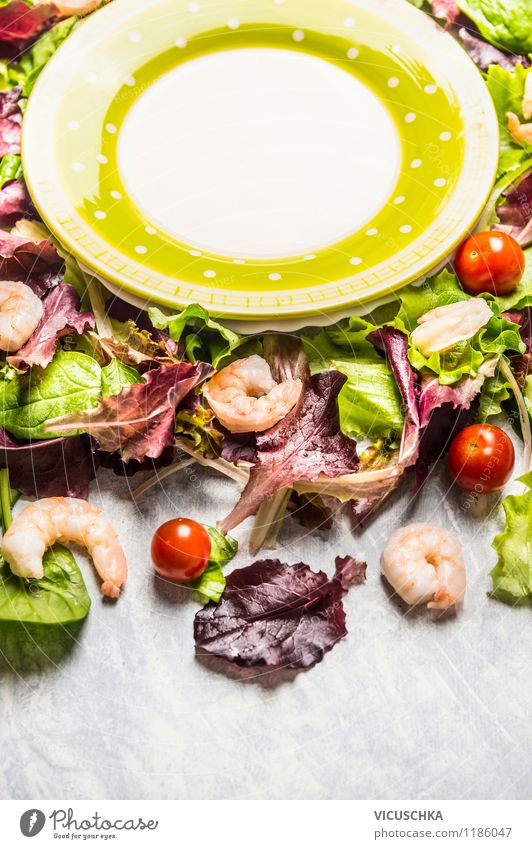 Prepare Shrimps Salad Food Seafood Vegetable Lettuce Nutrition Lunch Banquet Organic produce Vegetarian diet Diet Plate Style Design Healthy Eating Life