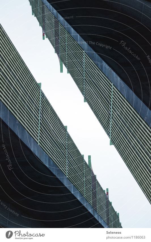 elevated road Sky Cloudless sky Street Highway Overpass Line Stripe Arrangement Perspective Double exposure Fence Colour photo Exterior shot Experimental