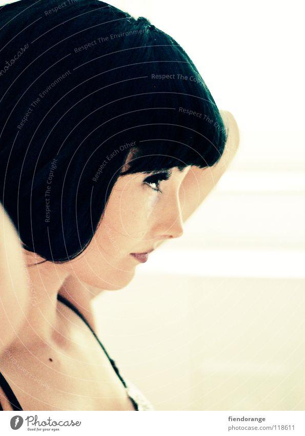 Beautiful Black Hair and hairstyles Contentment Model Make-up Hairdresser Pallid Underwear Eyelash Wig